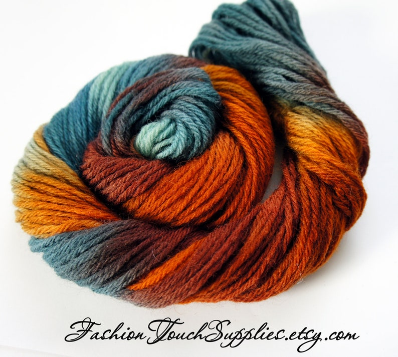 Autumn Orange and Brown Hand Painted Yarn in Shades of Teal