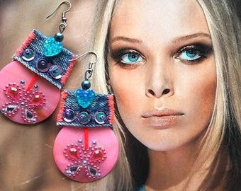 PINK SEA SHELL Earrings, Gipsy dangle pair, Recycled Denim Jewelry, Rhinestone butterflies, Tropical Gipsy style, Hot Pink Turquoise Blue