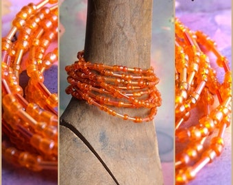 ORANGE BLOSSOM bracelet, beaded wire 9x bracelet, 172 cm long, assorted vintage beads, orange shades, ready to ship