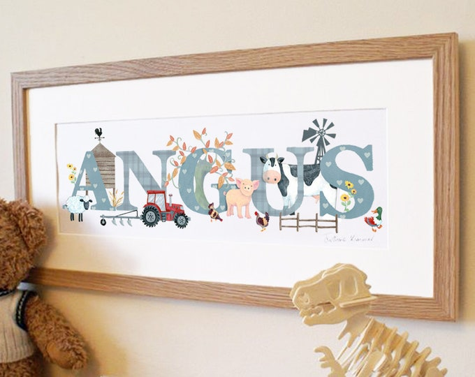 Featured listing image: Farmyard farm animal tractor pig cow sheep chickens children kids new baby illustrated name art picture personalised print name frame gift