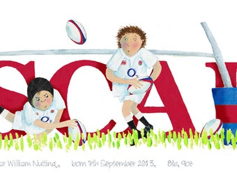Rugby Illustrated Name Print - personalised to a favourite team