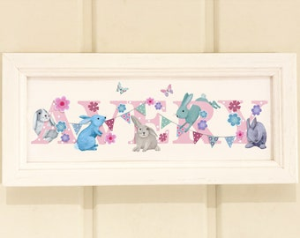 Bunny rabbit bunnies rabbits Door Plaque - Childrens Kids name sign Illustration name frame new baby gift