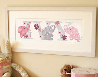 ELEPHANT THEME - Children's / kid's / baby's illustrated name art nursery / bedroom picture, personalised print, name frame