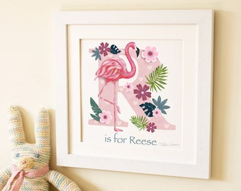 Flamingo children's kids baby letter art initial art print illustration picture, personalised name, nursery decor, new baby gift, name frame