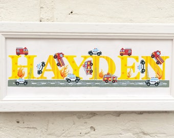 Fire Engine / Police / Emergency Vehicles Door Plaque - Children's / Kids / name sign / Illustration, name frame, new baby gift