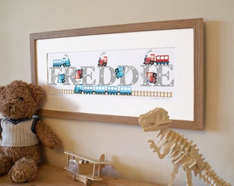 Train steam train railway transport children kids new baby illustrated name art picture personalised print name frame gift