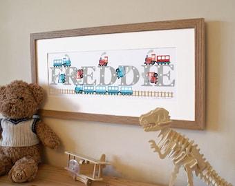 Train Illustrated Name Print