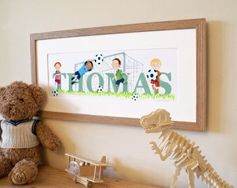 Football Soccer Children's kids baby name frame illustration picture art illustrated name print (can be personalised to a favourite team)