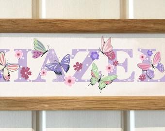 Butterfly, Butterflies Door Plaque - Children's / Kids / name sign / Illustration / bedroom / nursery, name frame, new baby gift