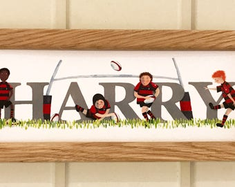 Rugby Door Plaque - Children's / Kids / name sign / Illustration, name frame, new baby gift (kit can be changed to a favourite team / club)
