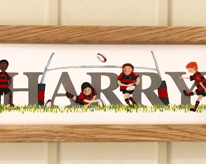 Featured listing image: Rugby Door Plaque - Children's / Kids / name sign / Illustration, name frame, new baby gift (kit can be changed to a favourite team / club)
