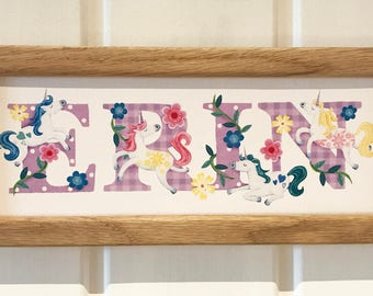Unicorn Door Plaque - Children's / Kids / Plate / name sign / Illustration, name frame, new baby gift