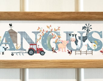 Farmyard farm animal door plaque - tractor cow pig chickens sheep duck Childrens Kids name sign Illustration name frame new baby gift
