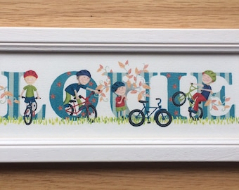 Bicycle / bike / cycling Door Plaque - Children's / Kids / name sign / Illustration, name frame, new baby gift