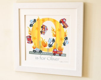 Police Fire Engine Letter Art Print