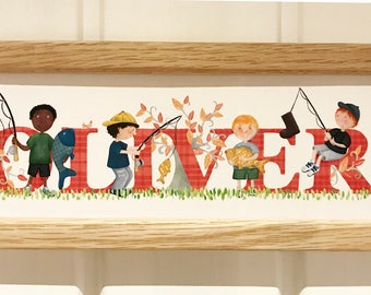 Fishing / Angling Door Plaque - Children's / Kids / name sign / Illustration, name frame, new baby gift
