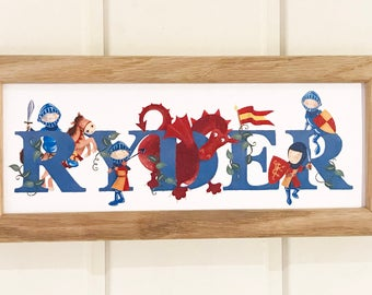 Knights Door Plaque - Children's / Kids / name sign / Illustration, name frame, new baby gift