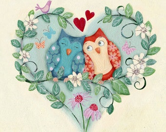 Owl Love - Unframed limited edition print