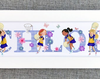 Netball Bedroom Door Sign - (can be personalised to a favourite team)