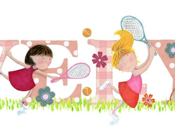 TENNIS - Children's / kid's / baby's illustrated name art picture, personalised print, name frame
