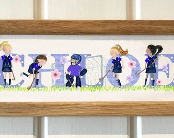 Hockey Door Plaque - Childrens kids name sign illustration name frame new baby gift sport