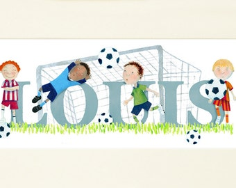 FOOTBALL - Children's / kid's / baby's illustrated name art picture, name frame, print (can be personalised to a favourite team)