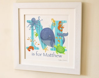 Sea life creatures, fish, Childrens kids baby letter art initial art print illustration, picture, nursery decor, new baby gift, name frame