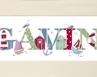 SEASIDE - Children's / kid's / baby's illustrated name art picture, personalised print, name frame