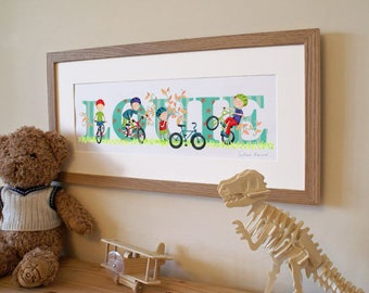 Bicycle / Bike / Cycling theme - Children's / kid's / baby's illustrated name art picture, personalised print, name frame