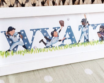 Baseball Door Plaque - Children's / Kids / name sign / Illustration, name frame, new baby gift (can be personalised to a favourite team)