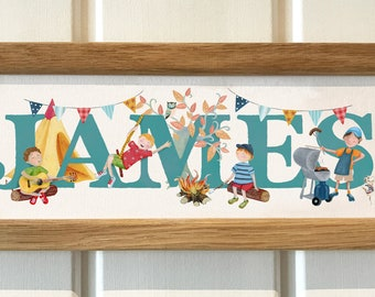 Camping (boys version) Door Plaque- Children's / kid's / name sign / Illustration, name frame, new baby gift