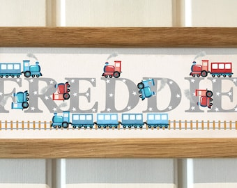 Train steam train engine locomotive railway transport Door Plaque - Childrens Kids name sign Illustration name frame new baby gift