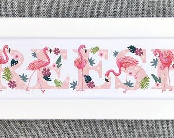 Flamingo Bedroom Door Sign