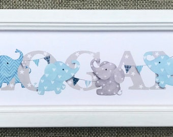 Elephant Door Plaque - Children's / Kids / name sign / Illustration / bedroom / nursery, name frame, new baby gift