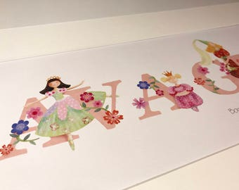 Princess Illustrated Name Print