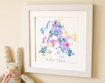 Unicorn Letter Art Print