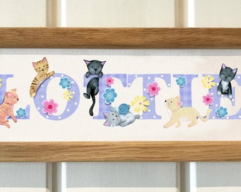 Kitten / Cat Door Plaque - Children's / Kids / name sign / Illustration, name frame, new baby gift