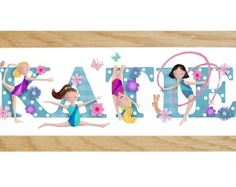 Gymnastics Door Plaque - Children's / Kids / name sign / Illustration, name frame, new baby gift