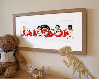 KARATE - Children's / kid's / baby's illustrated name art picture, personalised print, name frame