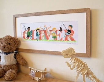 FISHING / ANGLING - Children's / kid's / baby's illustrated name art picture, personalised print, name frame