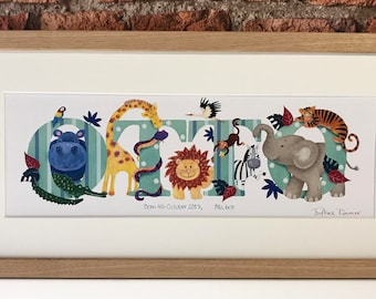 Safari name illustration print, zoo animal, jungle, children's, kids, baby personalised art picture, name frame, bedroom, nursery decor