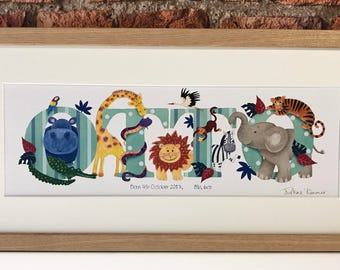 ZOO / ANIMAL / Safari / Jungle theme - Children's / kid's / baby's illustrated name art picture, personalised print, name frame