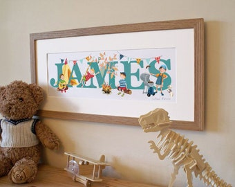 CAMPING (B0YS VERSION) - Children's / kid's / baby's illustrated name art picture, personalised print, name frame