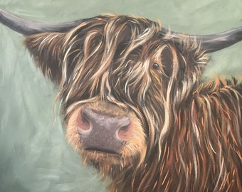Highland cow limited edition art print, wall art, animal art, cow art, farmyard animals, highland cattle