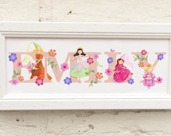 Princess Princesses Door Plaque Children's Kids name sign Illustration new baby gift room decor, name frame