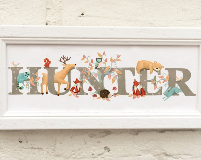 Featured listing image: Woodland Animal Door Plaque - Children's / Kids / name sign / Illustration, name frame, new baby gift