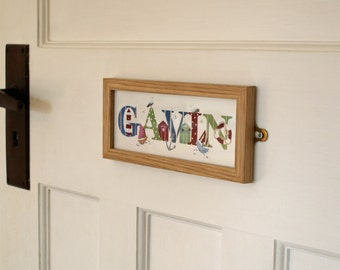 Seaside / Nautical Door Plaque Children's / Kids / name sign / Illustration, name frame, new baby gift