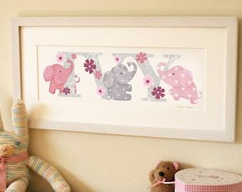 Elephant Illustrated Name Print