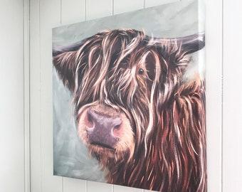 Highland cow canvas giclee art print