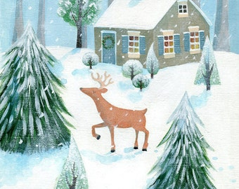 Deer in snow - Unframed limited edition print